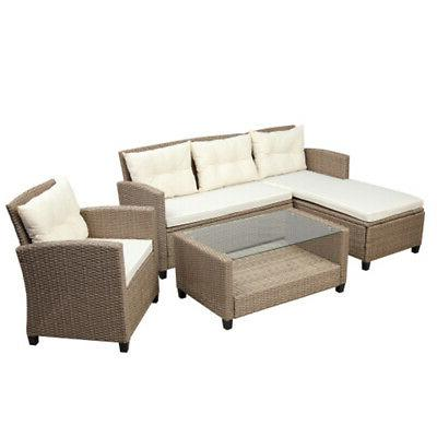 4pcs Patio Furniture Rattan Wicker Outdoor Sofa Set w/Seat Cushion