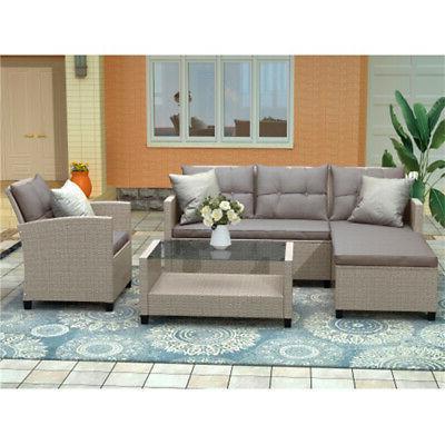 4pcs Furniture Rattan Wicker Sofa w/Seat Cushion