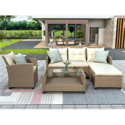 4pcs Rattan Sofa Set