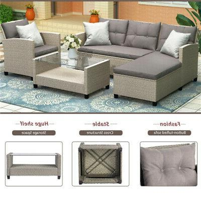 4pcs patio furniture set rattan wicker sectional