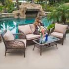 4PCS Rattan Wicker Patio Sofa Deep Cushion Seat Set Furnitur