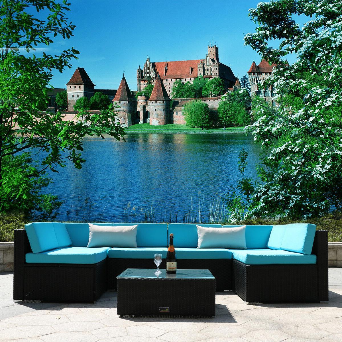 7PC Patio Wicker Furniture Sofa Garden Rattan Set Sectional