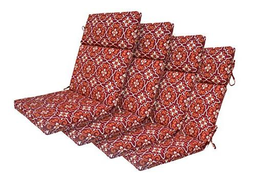Bossima Indoor/Outdoor Red Damask High Back Chair Cushion, S