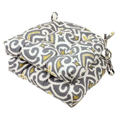 Pillow Perfect Yellow Damask Reversible Chair Pad, Gray/Gree
