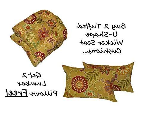 Set of 2 - Indoor / Outdoor Universal Tufted U-shape Cushion