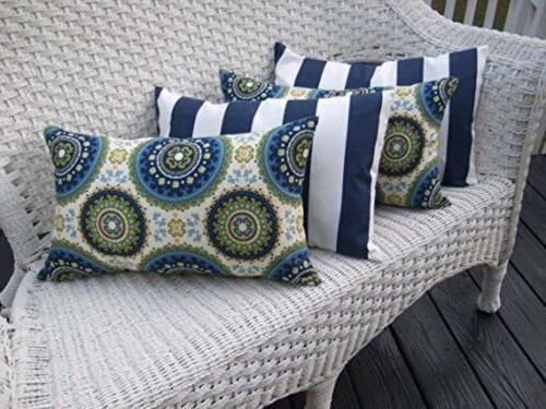 Set of 4 Decorative Rectangle Throw Pillows- Bohemian + Navy