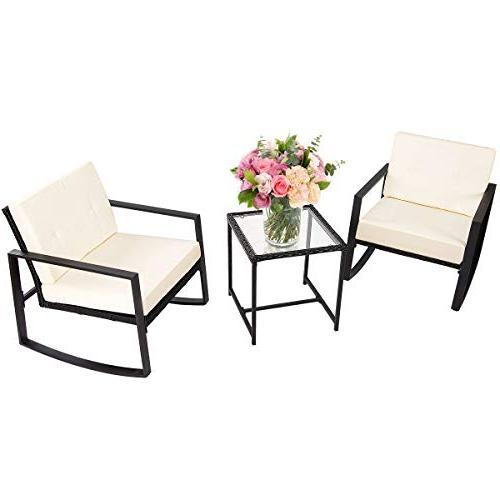 Tangkula 3 PCS Patio Rattan Wicker Furniture Set Outdoor Gar
