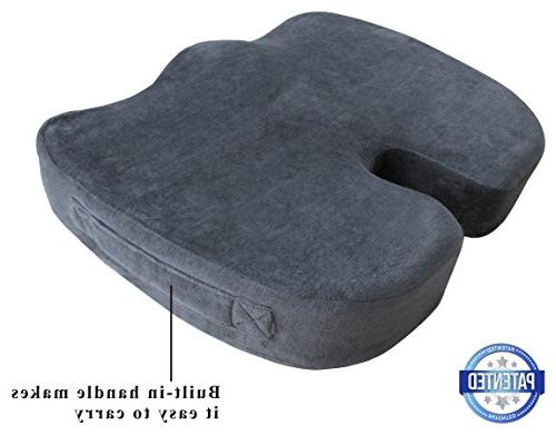 TravelMate for Office Chair Car Seat – Helps Relief from Tailbone Pain on – Non-Slip Washable Cover