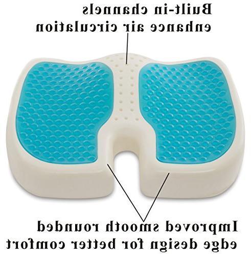 TravelMate Gel-Enhanced Memory Foam Seat Cushion Perfect for Office Car Cushion Helps Pain