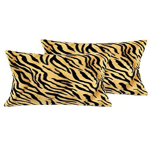 """WOMHOPE 2 Pcs - 13"""" x 19"""" Faux Fur Cushion Decorative Pillow"""
