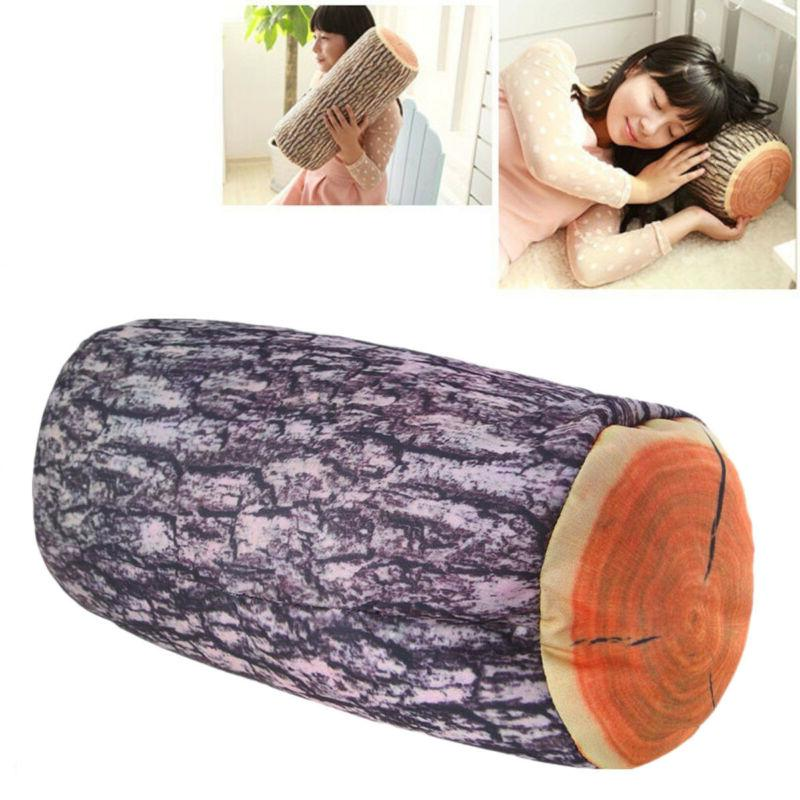 Wood Logs Shape Soft Car Seat Head Rest Throw Pillow Neck Su