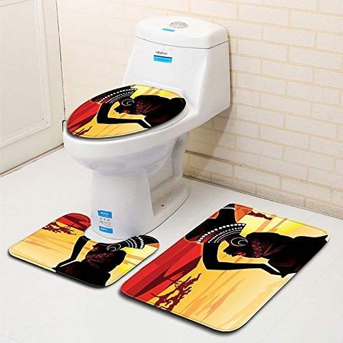 Sothread Purple Hair Toilet Seat Mat Pads Skidproof Rug