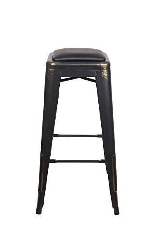 antique black metal stool
