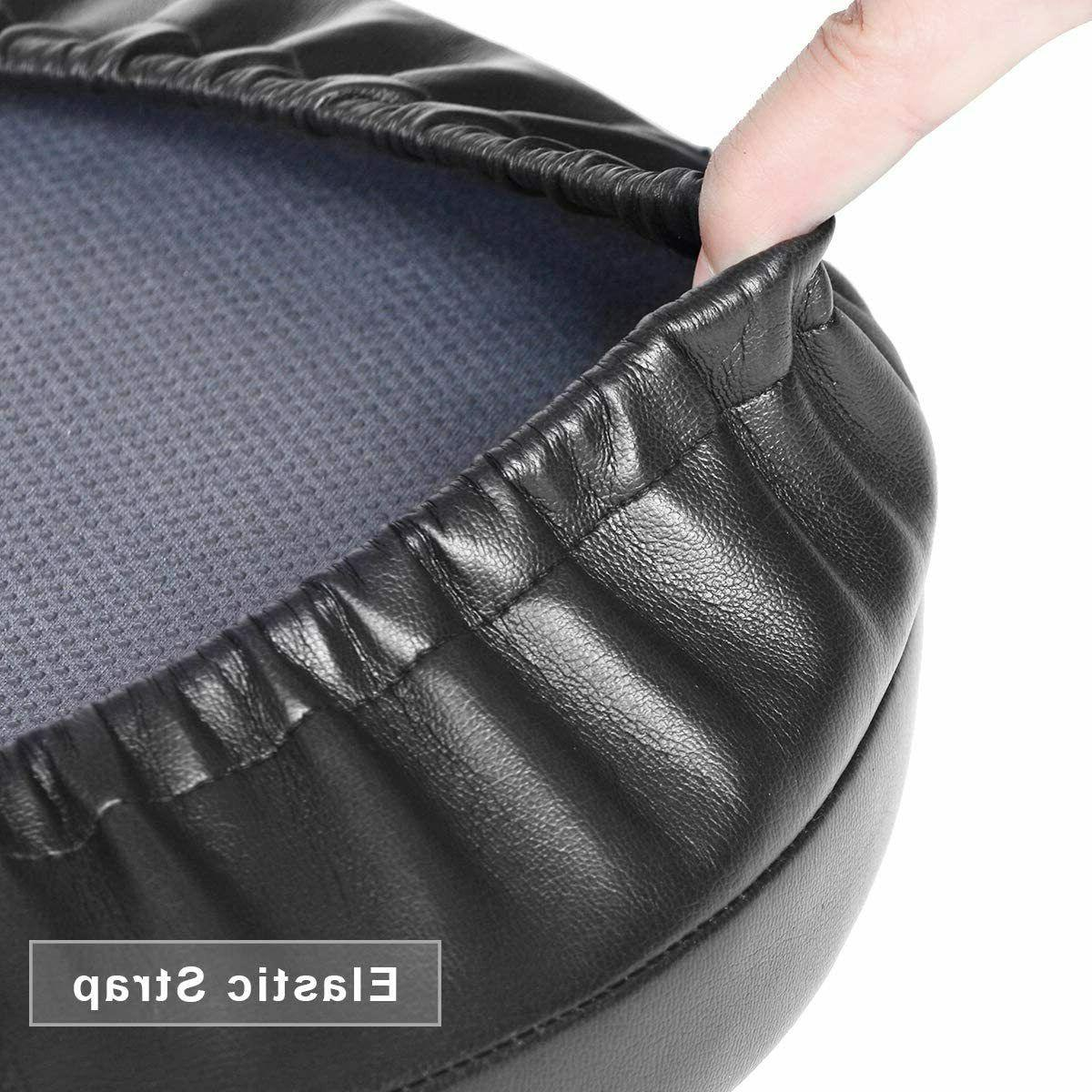 "Bar Stool Round Foam Padded Seat Cushions Salon Pub Chairs Black 14"""