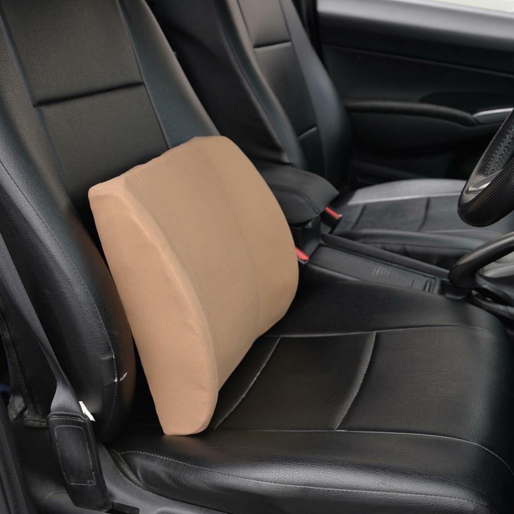 Beige Cushion Back Support Pillow Car Home Chair
