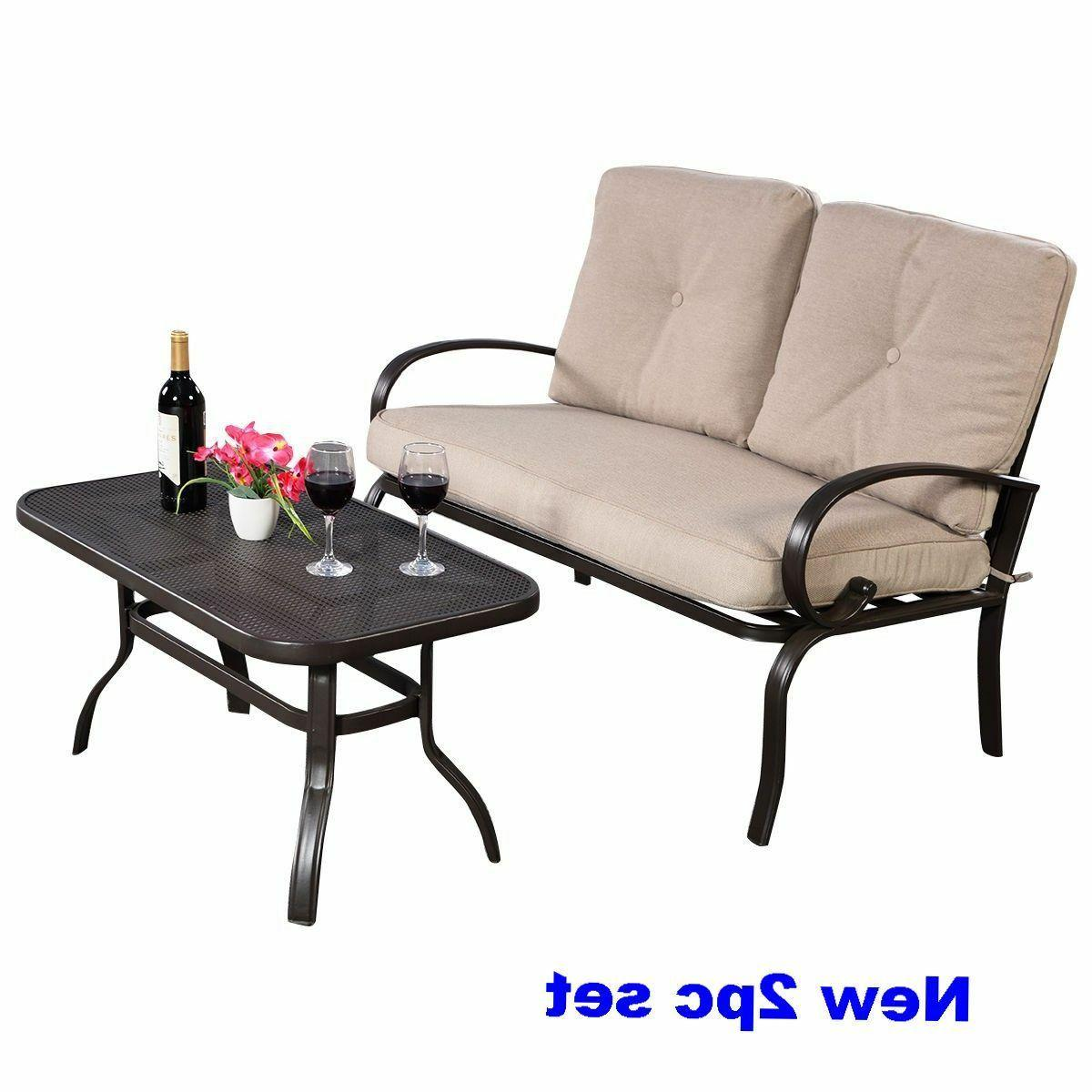 Outdoor Patio Sofa Bistro Steel Seat Coffee Table Loveseat C