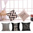 Black And White Geometric Cotton Linen Pillow Case Sofa Seat