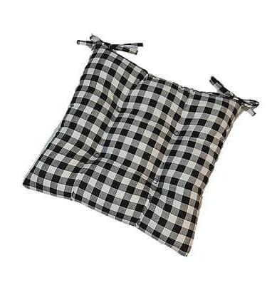 black plaid gingham tufted seat cushion