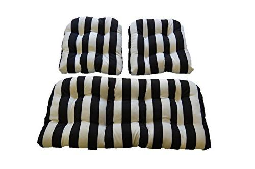 black white stripe fabric cushions