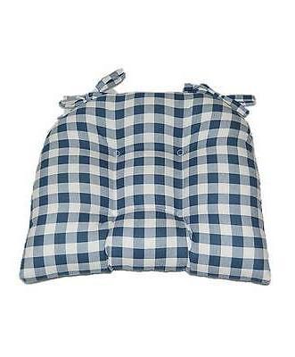 blue plaid tufted seat cushion w ties