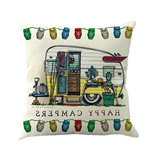 MOWANG Car Theme Pillow Case Cotton Cushion Cover Sets 18 18Inch Covers,6
