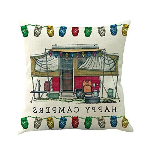 MOWANG Theme Pillow Home Cotton Linen Cover Sets 18 X 18Inch