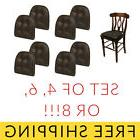 Chair Cushion Faux Leather Tufted Set of 4/6/8 Black Brown K