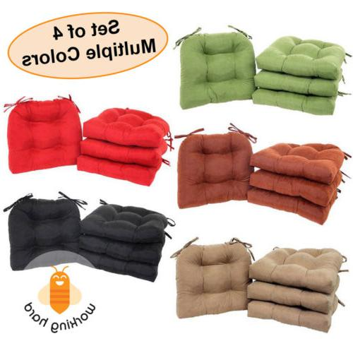 CHAIR CUSHIONS SET OF 4 Microfiber Pad Seat With Ties Durabl