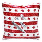 Christmas Cushion Cover Star Prints Sequin  Pillows Case Dec