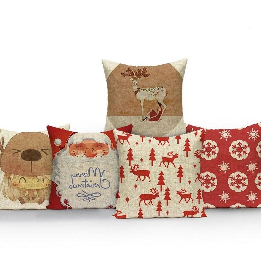 Christmas Pillow Cases Cushion Cover Home Holidays Sofa Deco