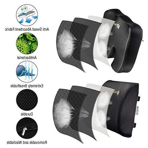 Pillow | Coccyx Memory Set Pillow and Non-Slip Bottom Breathable Mesh Cover Non-Sliding | Black