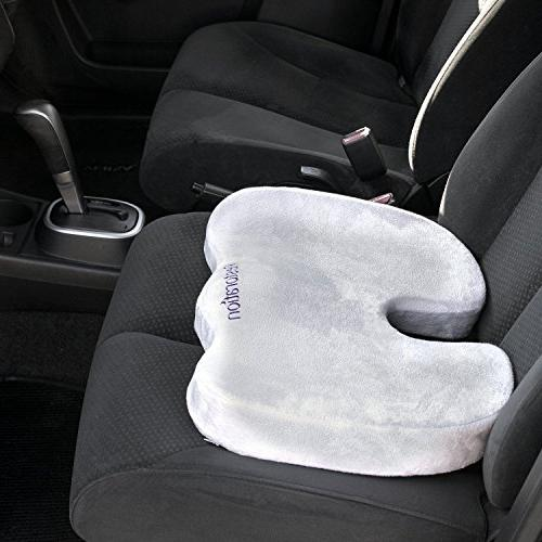 Comfy Cure Foam Cushion Top Recommended Premium Grade Cushion Back/Tailbone Relief - Office and Car Seat