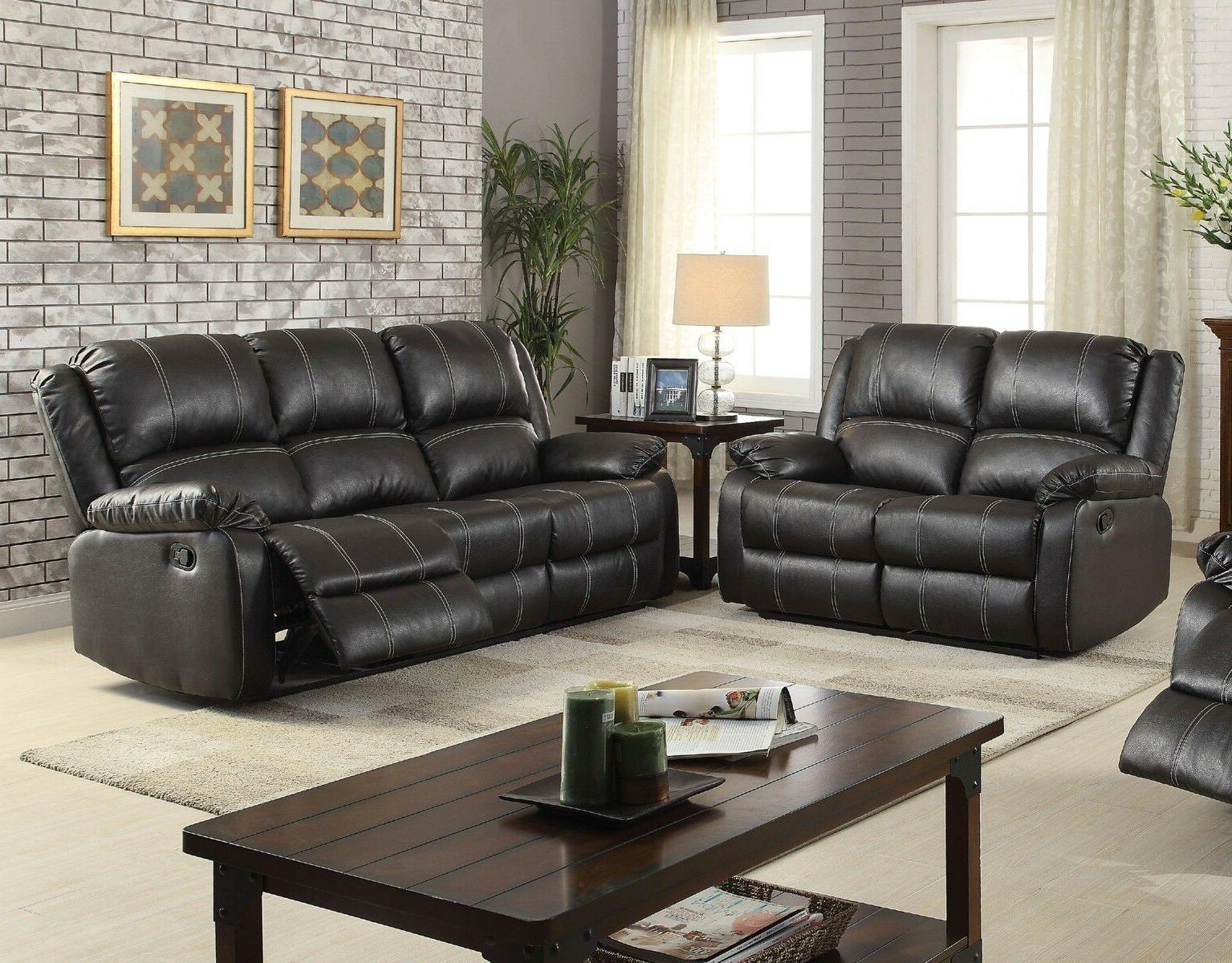 Contemporary Look Plush Back Love Seat Pillow Arms