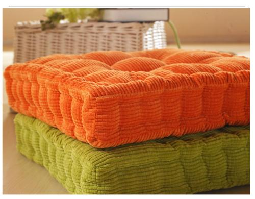 Corduroy Square Chair Pad Seating Tatami Pillow