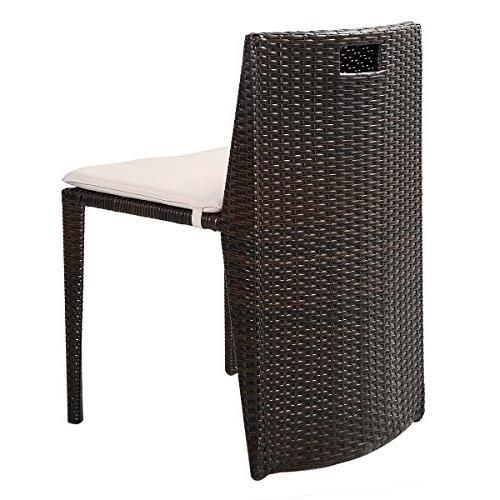 Goplus 3 Cushioned Outdoor Wicker Patio Set Seat Brown Garden Sofa