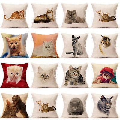 Cute Cat Cotton Linen Cushion Cover Sofa Car Seat Decorative