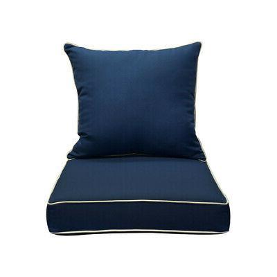 Deep Seat Rest Cushion Pillow Polyester Blue