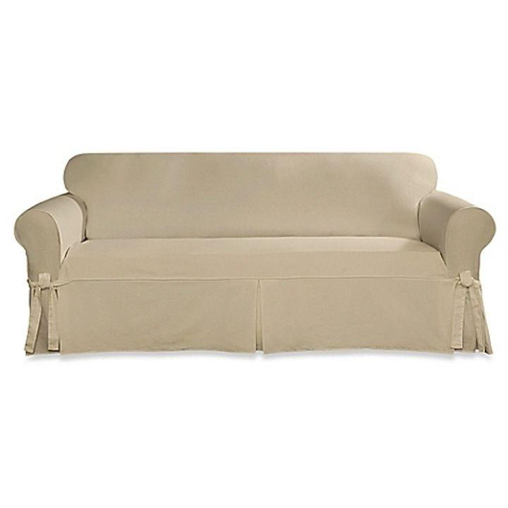 designer twill loveseat slipcover in natural