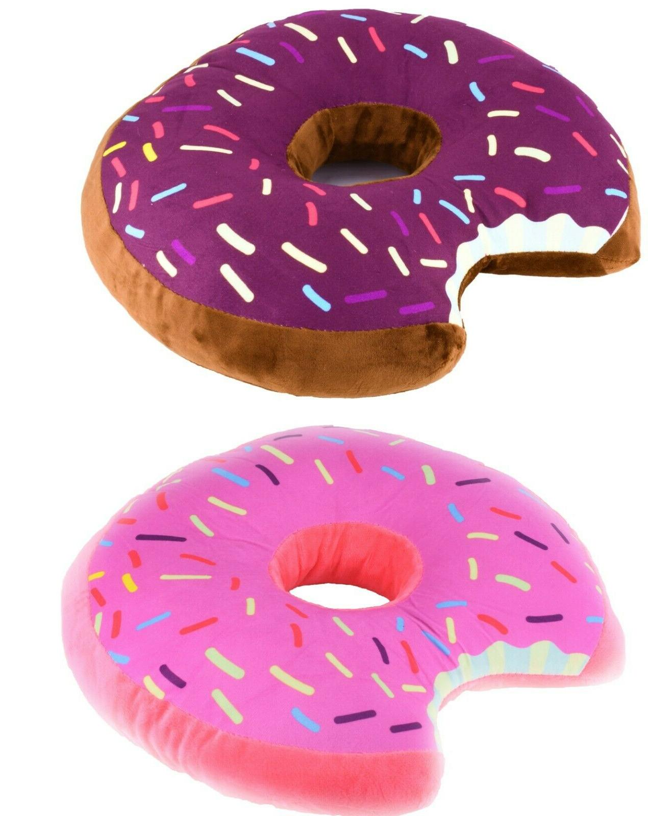 donut shaped plush pillow sprinkled comfy seat