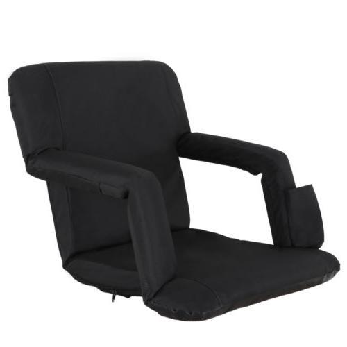 Portable Stadium Seat Chair Reclining Black Bleacher Padded