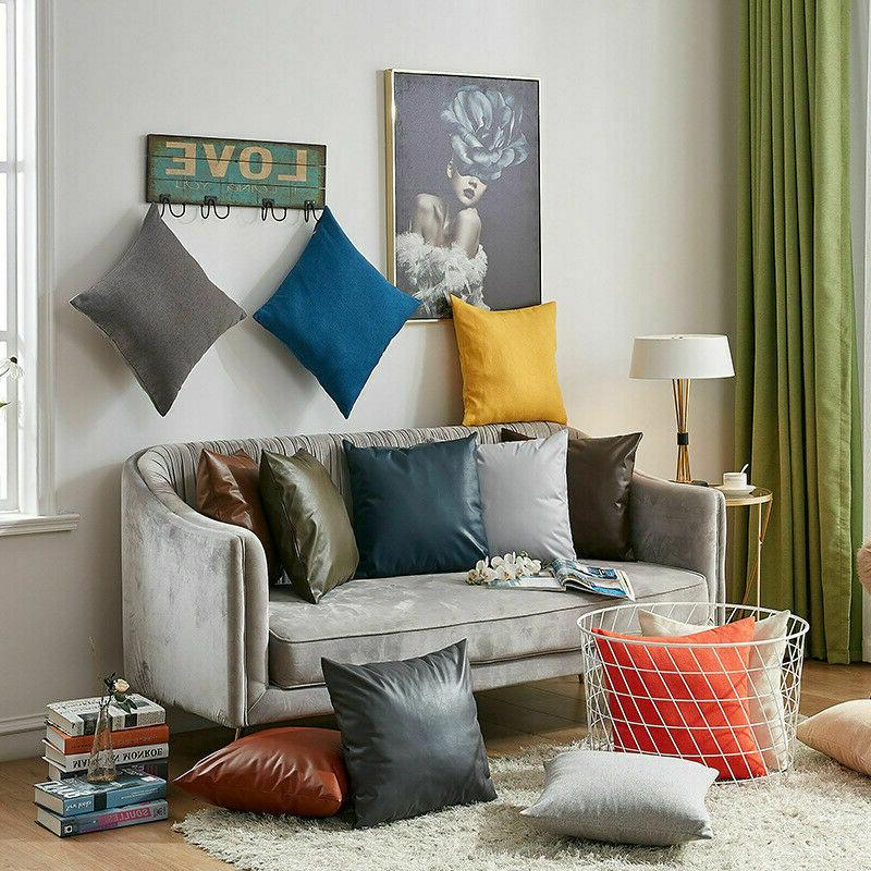 Faux Leather Cushion Cover Pillows Adornment