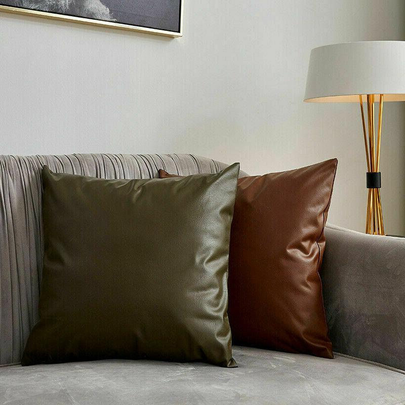 Faux Leather Cover Sofa Pillows Seat Adornment