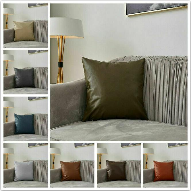 Faux Cover Sofa Waist PU Pillows Adornment