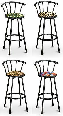 "FC37 COUNTER HEIGHT 24"" TALL BLACK METAL FINISH BAR STOOLS S"