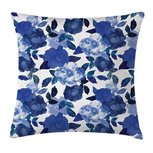 Ambesonne Flower Pillow Cushion Watercolor Painted Flowers Leaves Spring, Square Pillow Case, 16 Inches, Blue