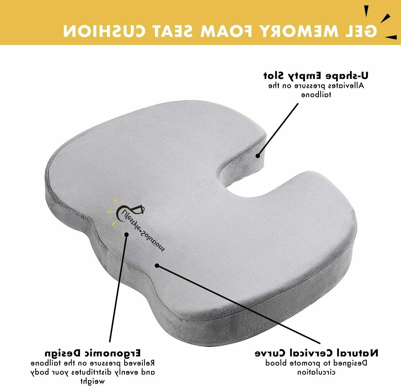 Cooling Gel Cushion Memory Foam Coccyx Car & Chair Pillow