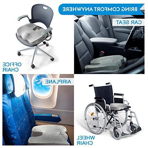 ComfiLife Gel Cushion Gel & Memory Coccyx Cushion for Pain – Car Cushion – Sciatica Relief