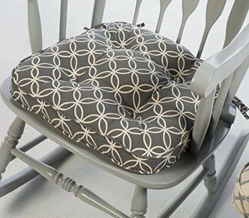 Gray Modern Geometric Print Rocking Chair Seat Cushion Pad W