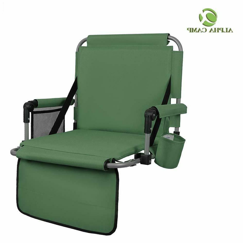 ALPHA Green Thickened Folding Bleacher Cushion Chair Set 2
