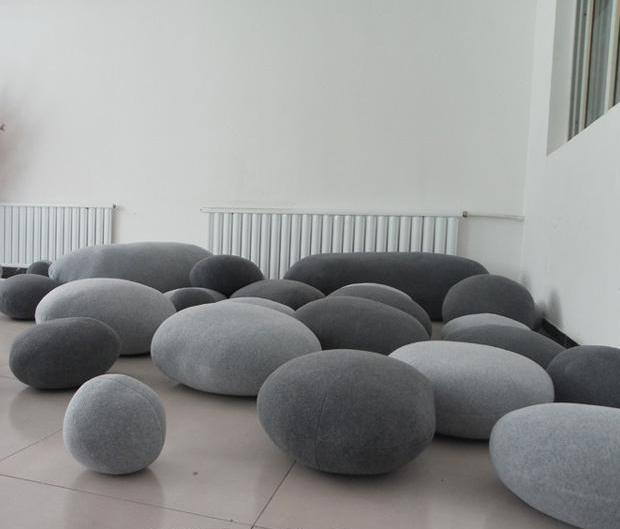 Huge Pebble Stone Stuffed Toys Cushion 6pcs